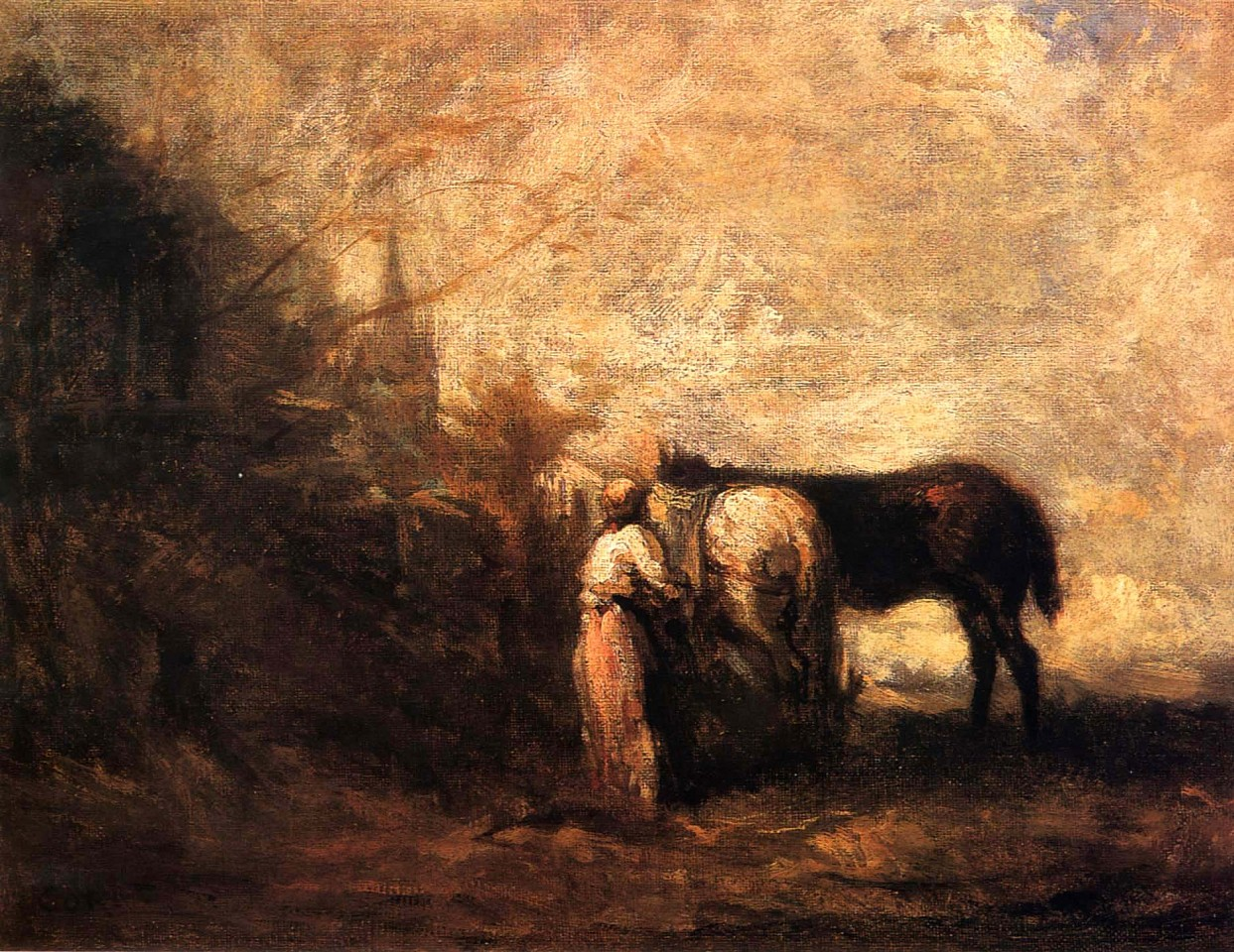 Jean Baptiste Camille Corot ,   Les Chevaux de Wouvermans  ,  1872-74     Oil on canvas ,  10 1/4 x 13 3/8 in. (26 x 34 cm)     COR-004-PA     $95,000