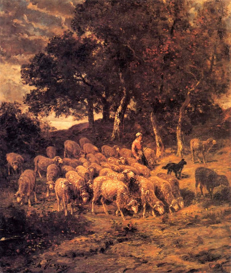 Charles Emile Jacque, A Shepherdess and Her Flock ca. 1867, Oil on canvas