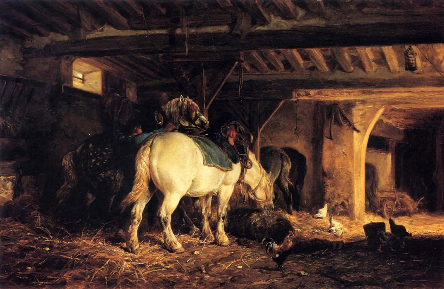 Charles Emile Jacque, In the Stable ca. 1873-75, Oil on canvas