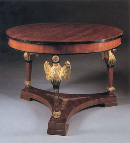 19th Century AUSTRIAN<br/> <i>Neoclassical Mahogany and Parcel Gilt Center Table</i>