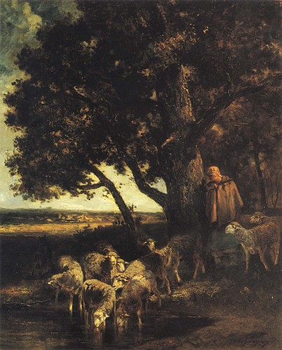 Charles Emile Jacque<br/> <i>A Shepherdess and her Flock by a Pool</i>