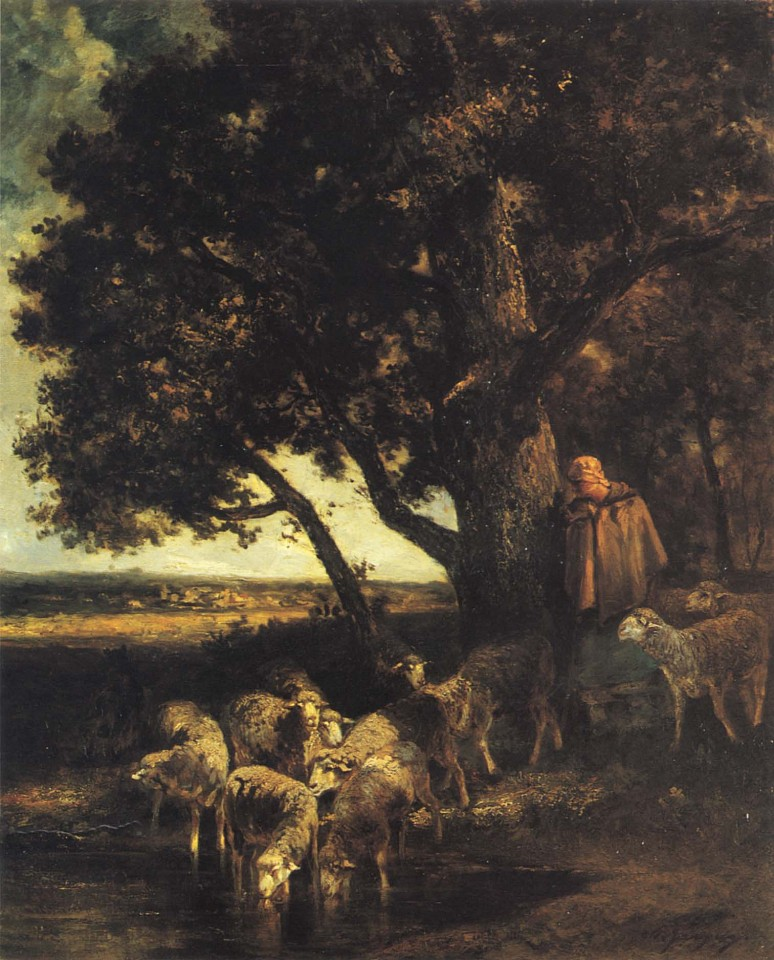 Charles Emile Jacque ,   A Shepherdess and her Flock by a Pool  ,  1870-73     Oil on canvas ,  32 x 26 in. (81.3 x 66 cm)     JAC-004-PA     $45,000