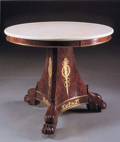 19th Century FRENCH<br/> <i>Late Empire Ormolu-Mounted Mahogany Center Table</i>
