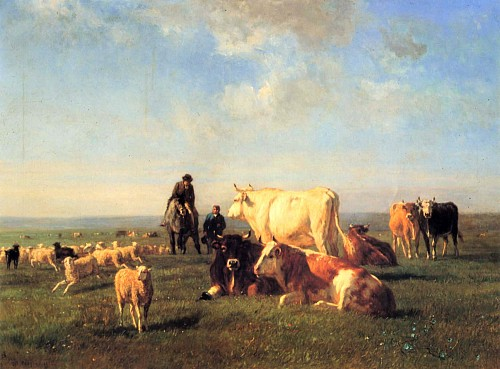 Constant Troyon - Cows and Sheep Grazing